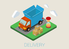 Flat 3d isometric delivery van cargo loading web concept Royalty Free Stock Photo