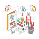 Flat 3d isometric design concept Shopping and e-commerce Royalty Free Stock Photography