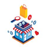 Flat 3d isometric design concept Shopping and e-commerce. Vector illustration stock illustration