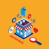 Flat 3d isometric design concept Shopping and e-commerce. Vector illustration royalty free illustration