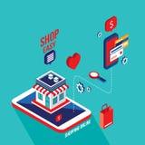 Flat 3d isometric design concept Shopping and e-commerce. Vector illustration vector illustration