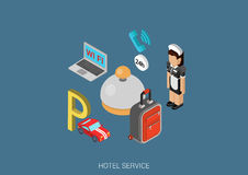 Flat 3d isometric design concept vector web infographic. Hotel service icons flat 3d isometric pixel art modern design concept vector. Maid, parking sign, wifi Stock Images