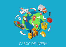 Flat 3d isometric design concept vector web infographic. Logistics cargo delivery flat 3d isometric pixel art modern design concept vector. Worldwide shipment Stock Image