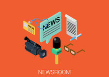 Flat 3d isometric design concept vector web infographic. News room media flat 3d isometric pixel art modern design concept vector. Newsroom correspondent Stock Photos