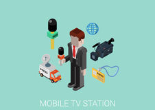 Flat 3d isometric design concept vector web infographic. Press television mobile TV station correspondent. Flat 3d isometric pixel art modern design concept Royalty Free Stock Image