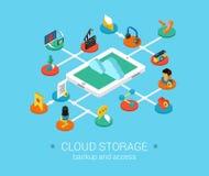 Flat 3d isometric design concept web cloud storage. Cloud storage flat 3d isometric modern design concept icons composition set. Data, audio, video, photo Vector Illustration