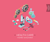 Flat 3d isometric design concept web health care. Health care flat 3d isometric pixel art modern design concept icons composition set. Microscope, gears Royalty Free Illustration