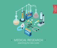 Flat 3d isometric design concept web medical research. Medical research flat 3d isometric pixel art modern design concept icons composition set. Microscope Stock Illustration