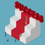 Flat 3d isometric. Different people try to success. Stairs to success. Metaphoric obstacle. Stock Photos