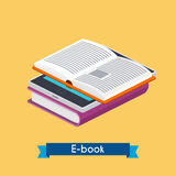 Flat 3d isometric e-book reader and books. Online reading. E-lea. Rning concept. Flat design modern vector illustration concept Stock Images