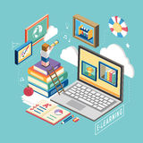 Flat 3d isometric e-learning concept illustration Stock Images