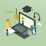 Flat 3d isometric e-learning concept illustration Stock Photography