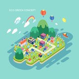 Flat 3d isometric eco green concept illustration. Over blue background Royalty Free Stock Photo