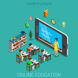 Flat 3d isometric education e-learning knowledge school vector Stock Photos