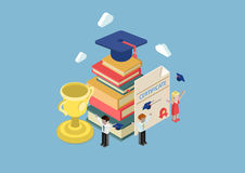 Flat 3d isometric education infographic concept vector Stock Image