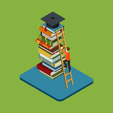 Flat 3d isometric education infographic concept. Flat 3d web isometric education graduation infographic concept . Man figure climbs on ladder over heap of books Stock Photo