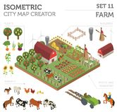 Flat 3d isometric farm land and city map constructor elements is. Olated on white. Build your own infographic collection. Vector illustration Stock Photos