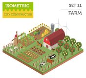 Flat 3d isometric farm land and city map constructor elements is. Olated on white. Build your own infographic collection. Vector illustration Stock Images