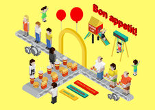 Flat 3d isometric fast food, burger and fries web infographic concept vector. Fastfood disease conveyor. Fatness trans fat diabetes carcinogen hepatic Stock Illustration