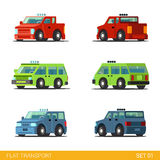 Flat 3d isometric funny city road transport icon set Royalty Free Stock Photos