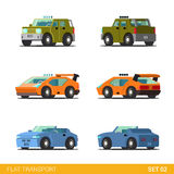 Flat 3d isometric funny city transport icon set: cars Stock Photography