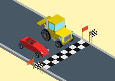 Flat 3d isometric funny race competition web infographic concept Royalty Free Stock Photo