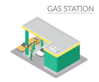 Flat 3d isometric Gas station and city map constructor elements Royalty Free Stock Image