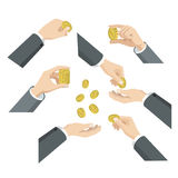 Flat 3d isometric hands with coins: give take throw toss put in. Flat 3d isometric set of hands with coins web infographics vector concept. Give take throw toss Stock Photography
