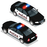 Flat 3d isometric high quality city service transport icon set. Police car. Build your own world web infographic Stock Photos
