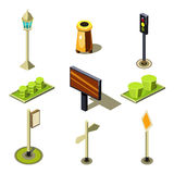 Flat 3d Isometric High Quality City Street Urban Objects Icon Set. Traffic light street lights big board citylight bus transport stop road signboard. Build royalty free illustration