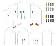 Flat 3d isometric high quality city street urban objects icon set. Traffic light, street lights, stop road, bench. Infographic collection Stock Images