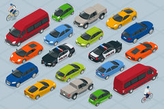 Flat 3d isometric high quality city transport car icon set. Car, van, cargo truck, off-road, bike, mini, sport car Stock Photos
