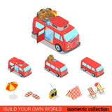 Flat 3d isometric hippie van camping info graphic  icon Royalty Free Stock Images