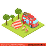 Flat 3d isometric  hippie van outdoor tent lounge camping Royalty Free Stock Images