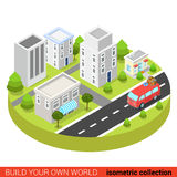 Flat 3d isometric hippie van in town street modern infographic Stock Photo