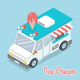 Flat 3d isometric ice cream truck with text. Flat 3d isometric ice cream truck. Space with text. Delicious and dessert and cold. Vector illustration Royalty Free Stock Photo