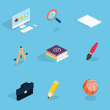 Flat 3d isometric icons set vector illustration. Stock Image