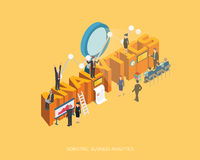 Flat 3d isometric  illustration analytics concept design, Abstract urban modern style, high quality business series.  Royalty Free Stock Images