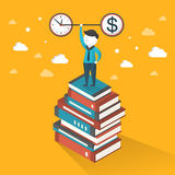 Flat 3d isometric illustration concept of time and money. Over yellow background Stock Photos