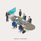 Flat 3d isometric  illustration conference concept design, Abstract urban modern style, high quality business Royalty Free Stock Images