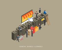 Flat 3d isometric  illustration e-commerce concept design, Abstract urban modern style, high quality business series.  Royalty Free Stock Photography