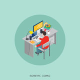 Flat 3d isometric  illustration freelancer coding concept design, Abstract urban modern style, high quality business series.  Stock Photo