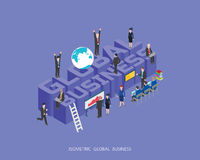 Flat 3d isometric  illustration global business concept design, Abstract urban modern style, high quality business series.  Stock Image