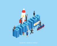 Flat 3d isometric  illustration stark up concept design, Abstract urban modern style, high quality business series. Royalty Free Stock Images