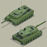 Flat 3d isometric illustration of tank. Military Transportation. Military Tank. Military Tank isometric. Military Tank Royalty Free Stock Photo