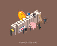 Flat 3d isometric  illustration teamwork concept design, Abstract urban modern style, high quality business series. Royalty Free Stock Photo