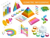 Flat 3d isometric infographic for your business presentations. Big set of infographics with data icons, world map charts. And design elements. For business Stock Photography