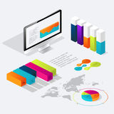 Flat 3d isometric infographic for your business presentations. Royalty Free Stock Photo