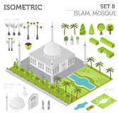 Flat 3d isometric islamic mosque and city map constructor eleme. Nts such as building, minaret, garden on white. Build your own infographic collection. Vector stock illustration