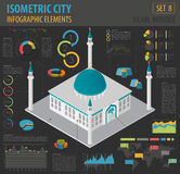 Flat 3d isometric islamic mosque and city map constructor eleme. Nts such as building, minaret, garden on white. Build your own infographic collection. Vector royalty free illustration